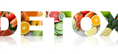healthy eating and vegetarian diet concept - word detox with jui
