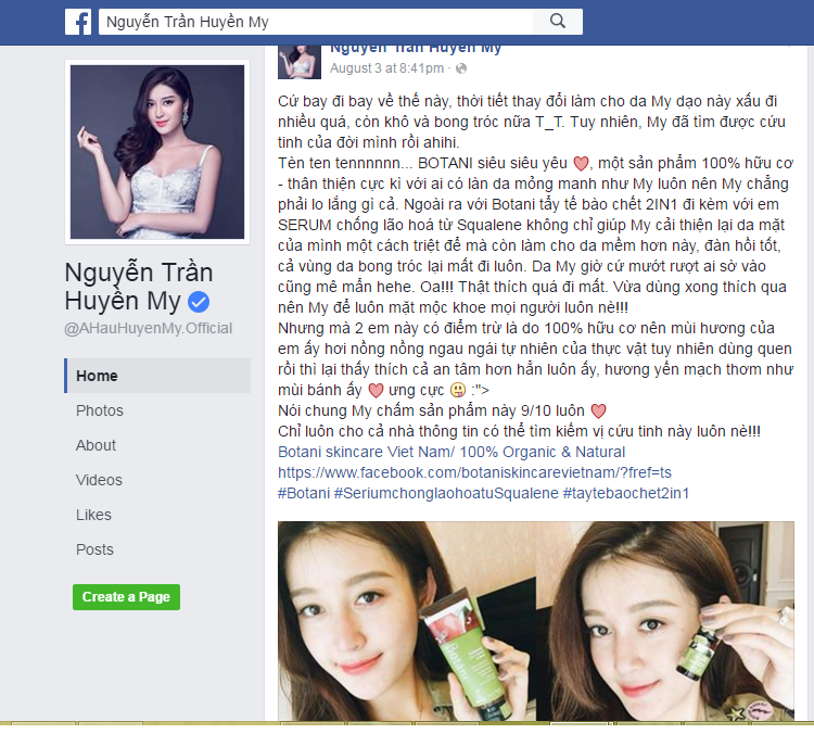 huyen my fan page